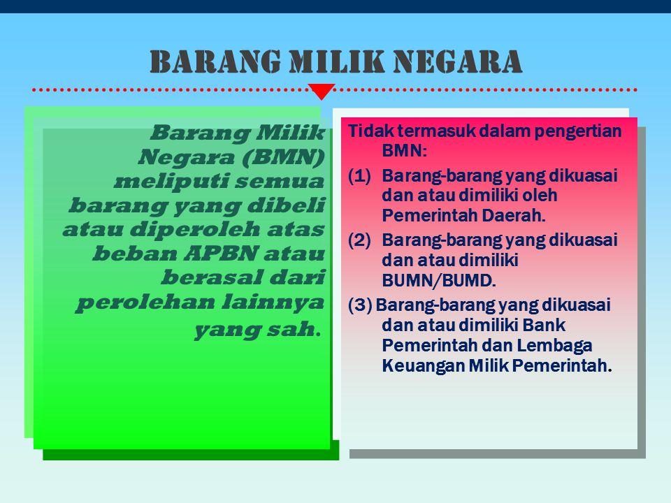Barang Milik Negara Barang Milik Negara (BMN) meliputi semua barang yang dibeli atau diperoleh atas beban APBN atau berasal dari perolehan lainnya yan