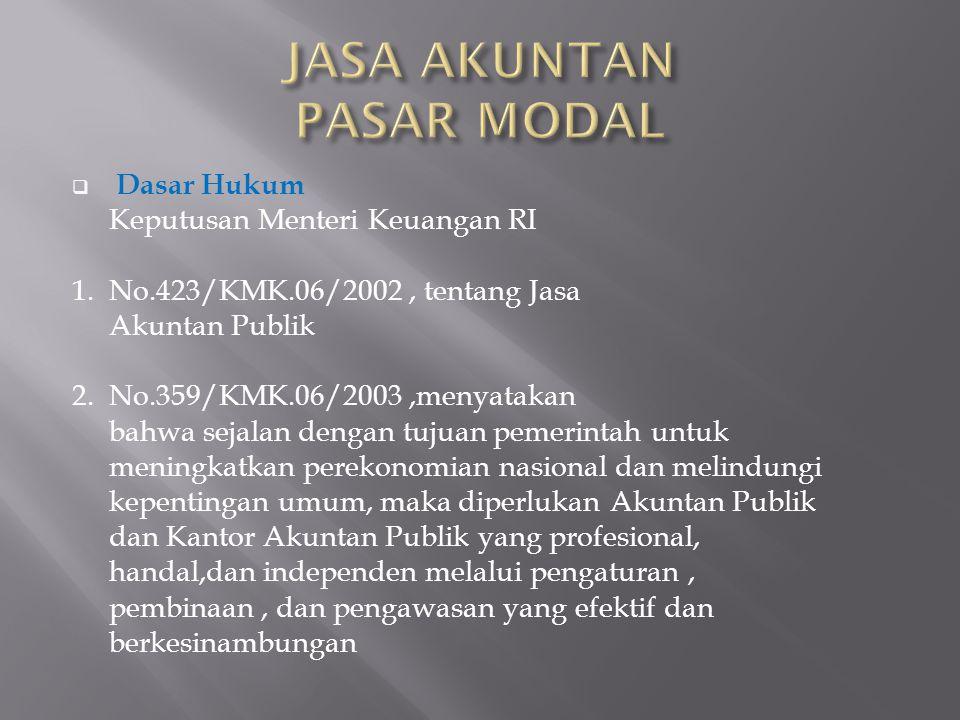  Dasar Hukum Keputusan Menteri Keuangan RI 1. No.423/KMK.06/2002, tentang Jasa Akuntan Publik 2.