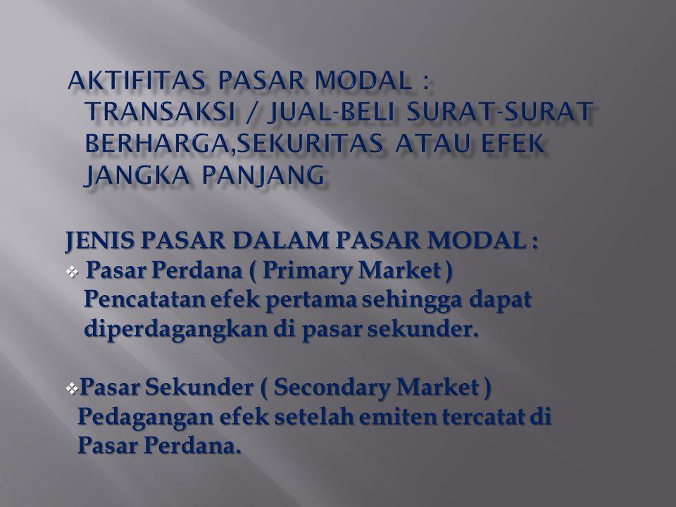 JENIS PASAR DALAM PASAR MODAL :  Pasar Perdana ( Primary Market ) Pencatatan efek pertama sehingga dapat Pencatatan efek pertama sehingga dapat diperdagangkan di pasar sekunder.