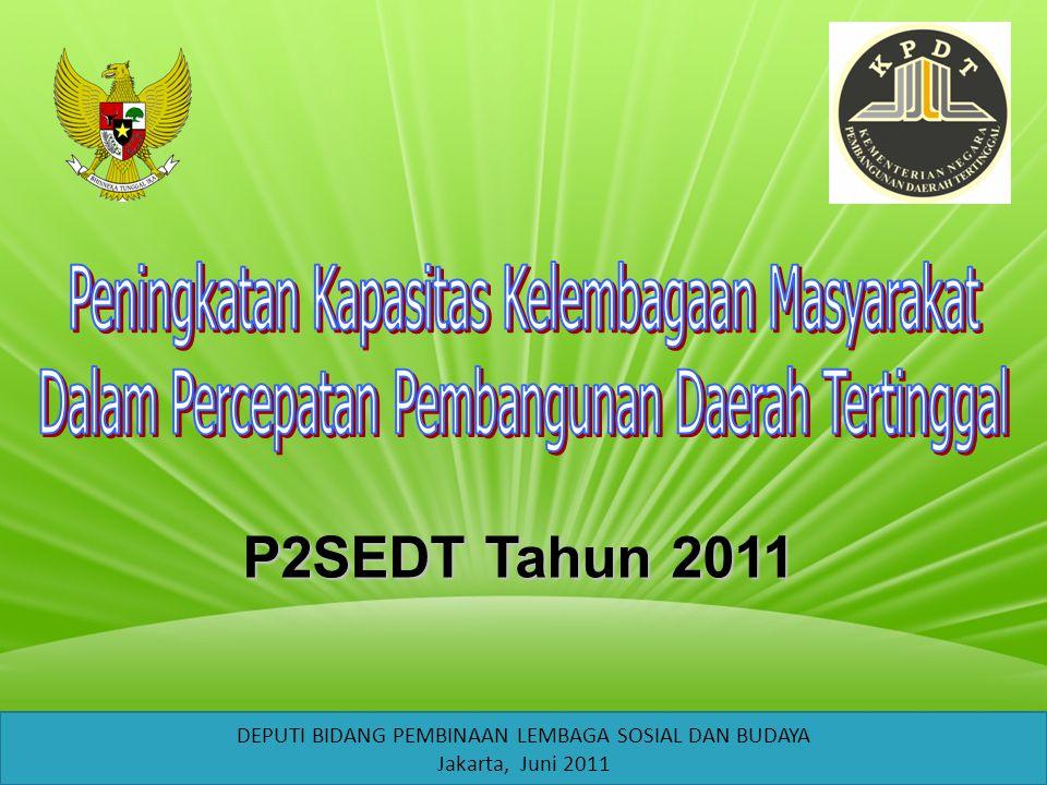 P2SEDT Tahun 2011 DEPUTI BIDANG PEMBINAAN LEMBAGA SOSIAL DAN BUDAYA Jakarta, Juni 2011