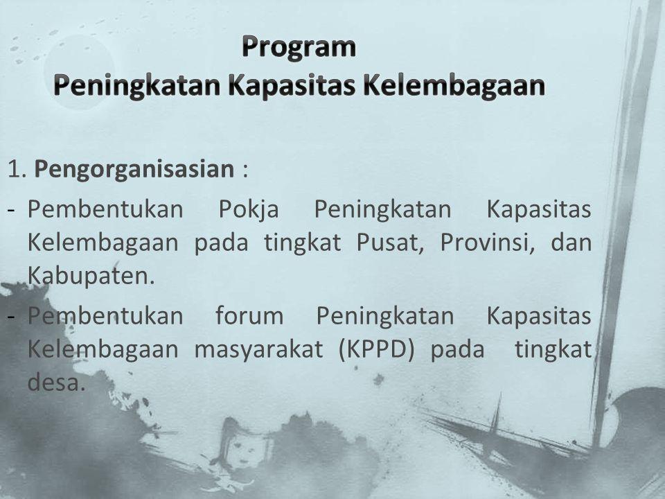 1. Pengorganisasian : -Pembentukan Pokja Peningkatan Kapasitas Kelembagaan pada tingkat Pusat, Provinsi, dan Kabupaten. -Pembentukan forum Peningkatan