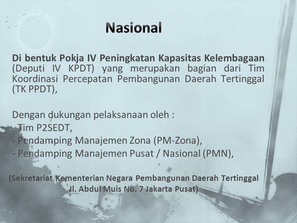 Di bentuk Pokja IV Peningkatan Kapasitas Kelembagaan (Deputi IV KPDT) yang merupakan bagian dari Tim Koordinasi Percepatan Pembangunan Daerah Tertingg
