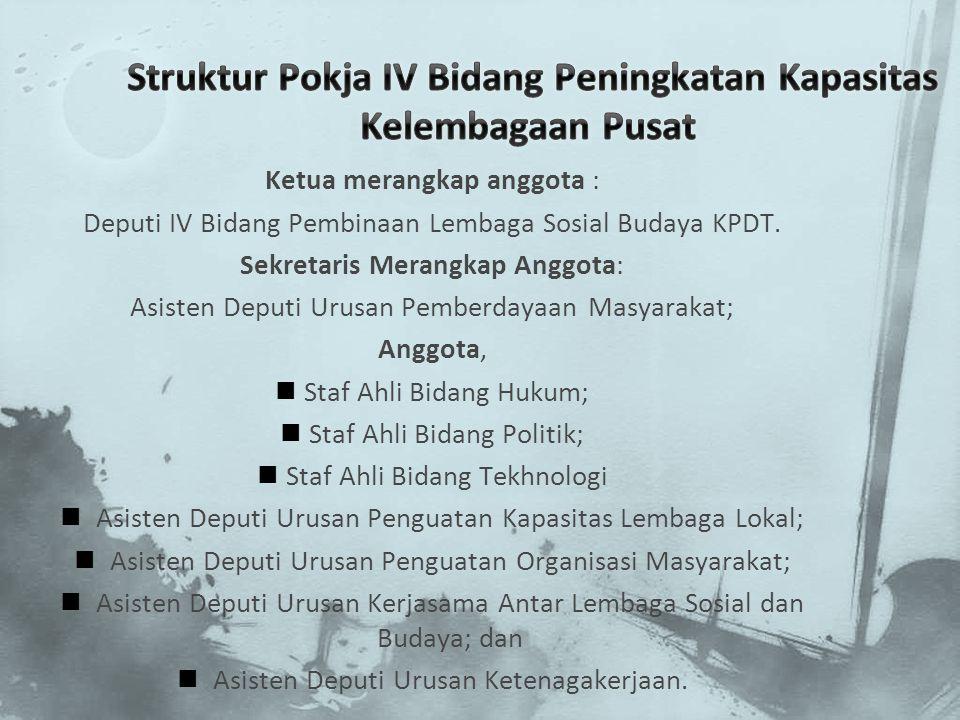 Ketua merangkap anggota : Deputi IV Bidang Pembinaan Lembaga Sosial Budaya KPDT. Sekretaris Merangkap Anggota: Asisten Deputi Urusan Pemberdayaan Masy