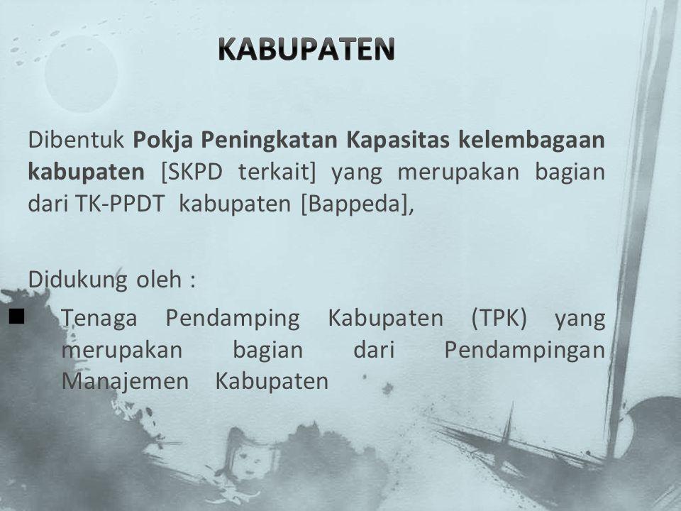 Dibentuk Pokja Peningkatan Kapasitas kelembagaan kabupaten [SKPD terkait] yang merupakan bagian dari TK-PPDT kabupaten [Bappeda], Didukung oleh : Tena