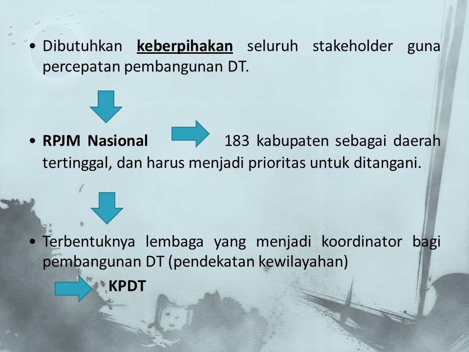Dibutuhkan keberpihakan seluruh stakeholder guna percepatan pembangunan DT. RPJM Nasional 183 kabupaten sebagai daerah tertinggal, dan harus menjadi p