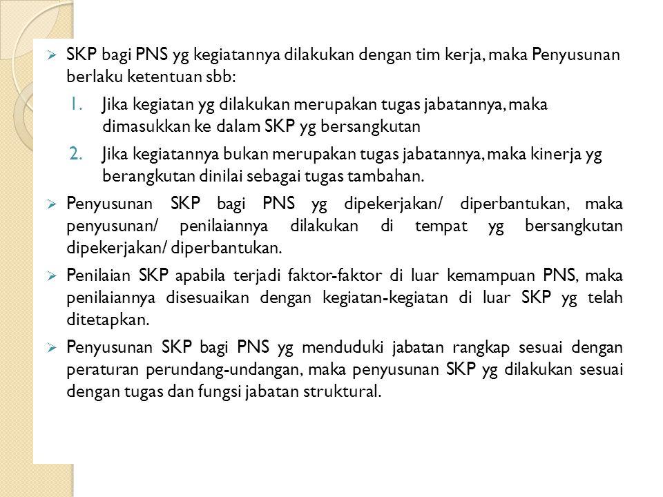  SKP bagi PNS yg kegiatannya dilakukan dengan tim kerja, maka Penyusunan berlaku ketentuan sbb: 1.Jika kegiatan yg dilakukan merupakan tugas jabatann