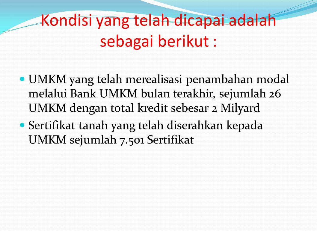 Kondisi yang telah dicapai adalah sebagai berikut : UMKM yang telah merealisasi penambahan modal melalui Bank UMKM bulan terakhir, sejumlah 26 UMKM de