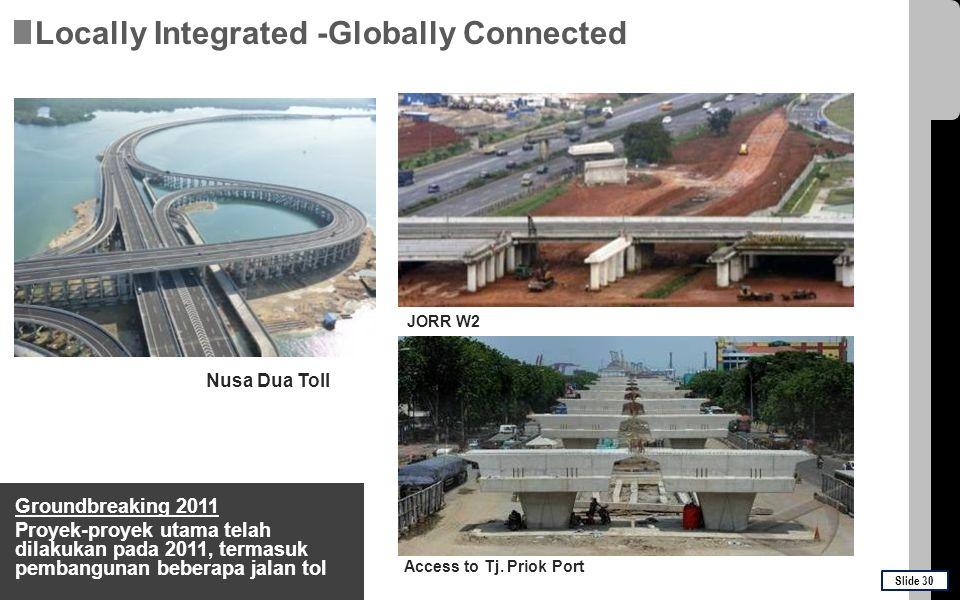 Groundbreaking 2011 Proyek-proyek utama telah dilakukan pada 2011, termasuk pembangunan beberapa jalan tol Nusa Dua Toll JORR W2 Access to Tj. Priok P