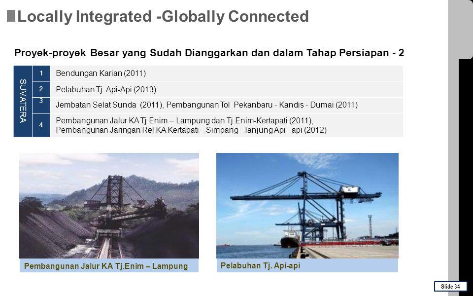 SUMATERA 1 Bendungan Karian (2011) 2 Pelabuhan Tj. Api-Api (2013) 3 Jembatan Selat Sunda (2011), Pembangunan Tol Pekanbaru - Kandis - Dumai (2011) 4 P