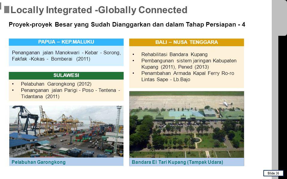 SULAWESI Pelabuhan Garongkong (2012) Penanganan jalan Parigi - Poso - Tentena - Tidantana (2011) Pelabuhan Garongkong PAPUA – KEP.MALUKU Penanganan ja