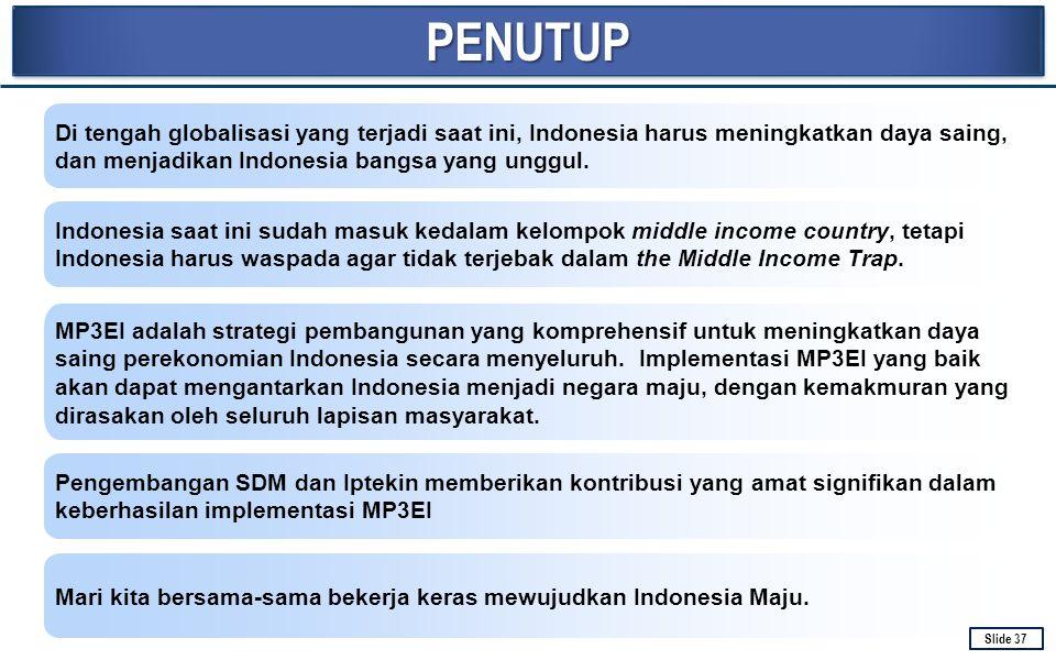 PENUTUPPENUTUP Di tengah globalisasi yang terjadi saat ini, Indonesia harus meningkatkan daya saing, dan menjadikan Indonesia bangsa yang unggul. Indo