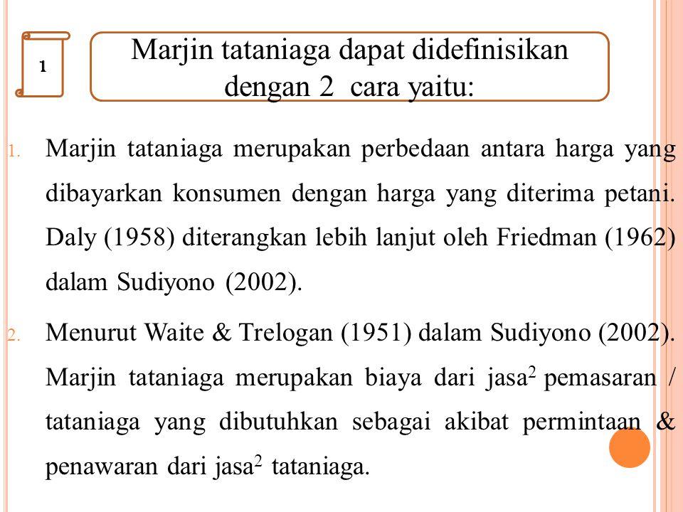 1. Marjin tataniaga merupakan perbedaan antara harga yang dibayarkan konsumen dengan harga yang diterima petani. Daly (1958) diterangkan lebih lanjut