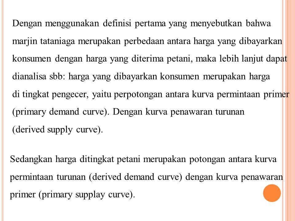 Dengan menggunakan definisi pertama yang menyebutkan bahwa marjin tataniaga merupakan perbedaan antara harga yang dibayarkan konsumen dengan harga yan