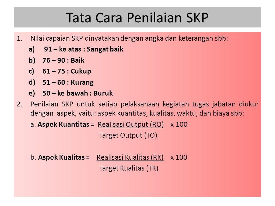 Tata Cara Penilaian SKP 1.Nilai capaian SKP dinyatakan dengan angka dan keterangan sbb: a)91 – ke atas : Sangat baik b)76 – 90 : Baik c)61 – 75 : Cuku