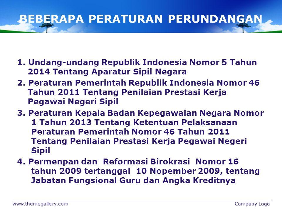 BEBERAPA PERATURAN PERUNDANGAN 1. Undang-undang Republik Indonesia Nomor 5 Tahun 2014 Tentang Aparatur Sipil Negara 2. Peraturan Pemerintah Republik I