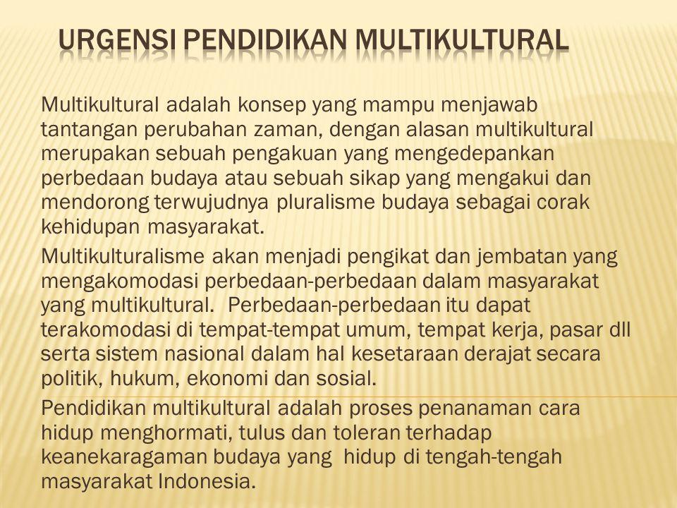 Multikultural adalah konsep yang mampu menjawab tantangan perubahan zaman, dengan alasan multikultural merupakan sebuah pengakuan yang mengedepankan perbedaan budaya atau sebuah sikap yang mengakui dan mendorong terwujudnya pluralisme budaya sebagai corak kehidupan masyarakat.