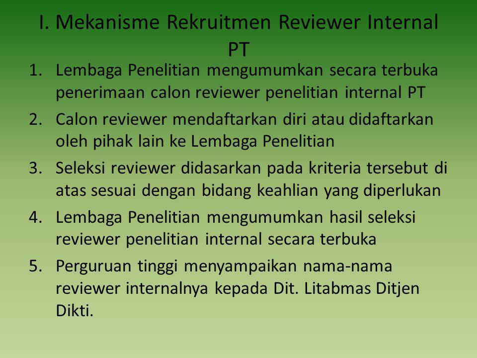 I. Mekanisme Rekruitmen Reviewer Internal PT 1.Lembaga Penelitian mengumumkan secara terbuka penerimaan calon reviewer penelitian internal PT 2.Calon