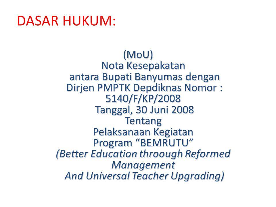 DASAR HUKUM: (MoU) Nota Kesepakatan antara Bupati Banyumas dengan Dirjen PMPTK Depdiknas Nomor : 5140/F/KP/2008 Tanggal, 30 Juni 2008 Tentang Pelaksan