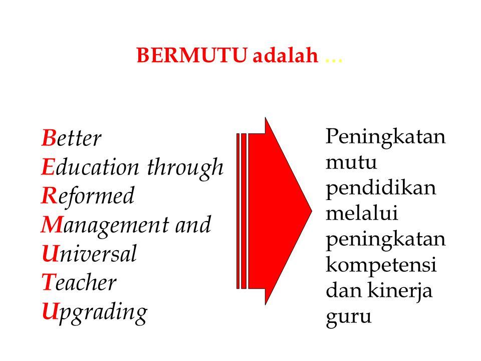 BERMUTU adalah … B etter E ducation through R eformed M anagement and U niversal T eacher U pgrading Peningkatan mutu pendidikan melalui peningkatan k