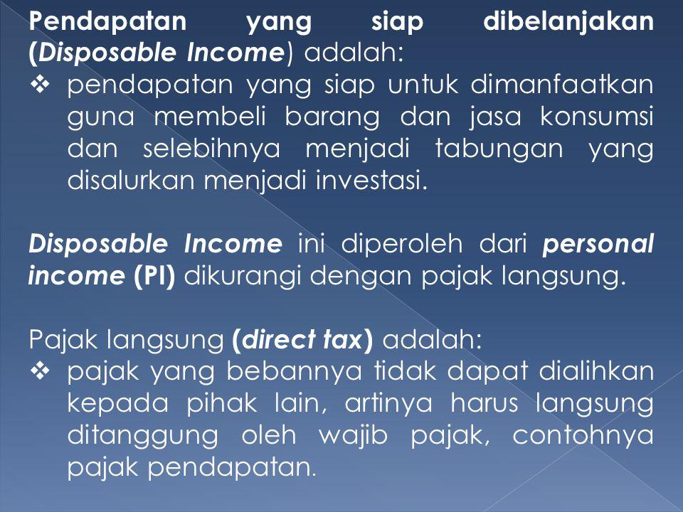 Pendapatan yang siap dibelanjakan ( Disposable Income ) adalah:  pendapatan yang siap untuk dimanfaatkan guna membeli barang dan jasa konsumsi dan se