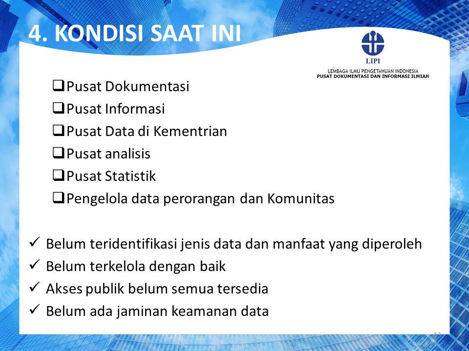 4. KONDISI SAAT INI 13  Pusat Dokumentasi  Pusat Informasi  Pusat Data di Kementrian  Pusat analisis  Pusat Statistik  Pengelola data perorangan