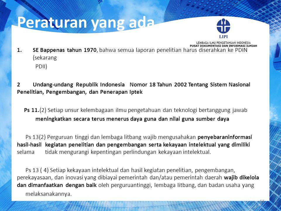 14 Peraturan yang ada 1.SE Bappenas tahun 1970, bahwa semua laporan penelitian harus diserahkan ke PDIN (sekarang PDII) 2 Undang-undang Republik Indon