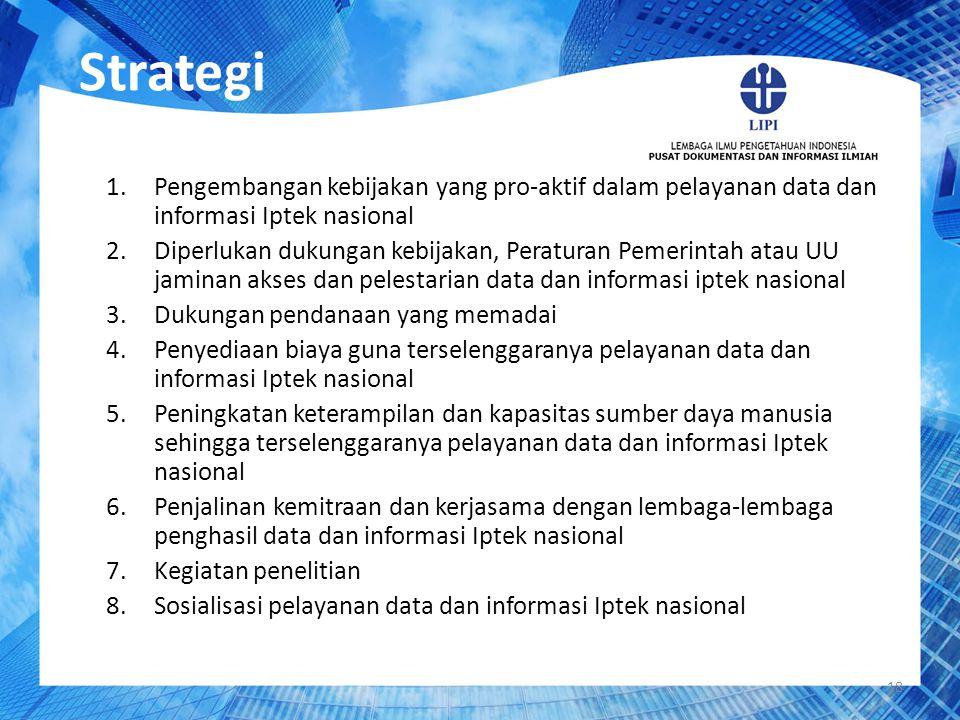 Strategi 1.Pengembangan kebijakan yang pro-aktif dalam pelayanan data dan informasi Iptek nasional 2.Diperlukan dukungan kebijakan, Peraturan Pemerint