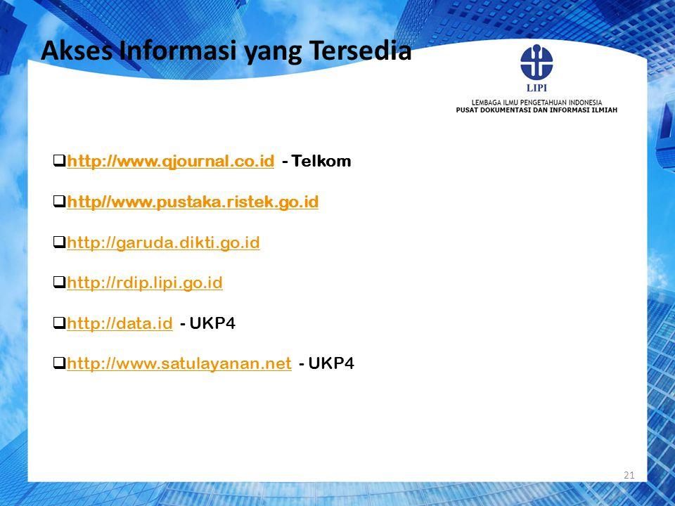 Akses Informasi yang Tersedia 21  http://www.qjournal.co.id - Telkom http://www.qjournal.co.id  http//www.pustaka.ristek.go.id http//www.pustaka.ris
