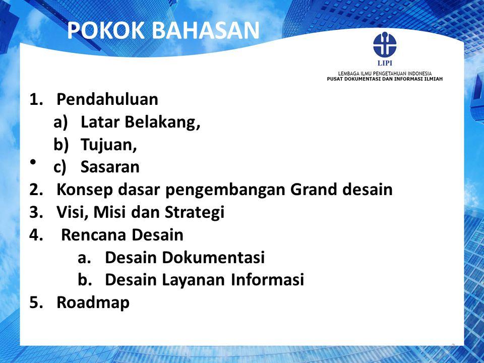 POKOK BAHASAN 3 1.Pendahuluan a)Latar Belakang, b)Tujuan, c)Sasaran 2.Konsep dasar pengembangan Grand desain 3.Visi, Misi dan Strategi 4. Rencana Desa