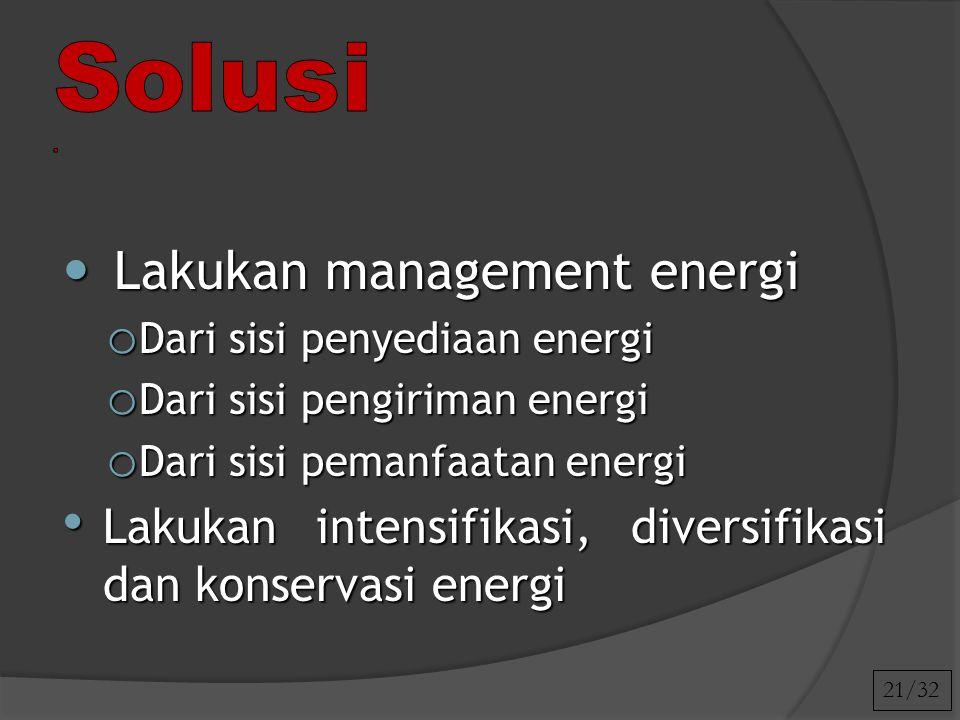 21/32 Lakukan management energi Lakukan management energi o Dari sisi penyediaan energi o Dari sisi pengiriman energi o Dari sisi pemanfaatan energi L