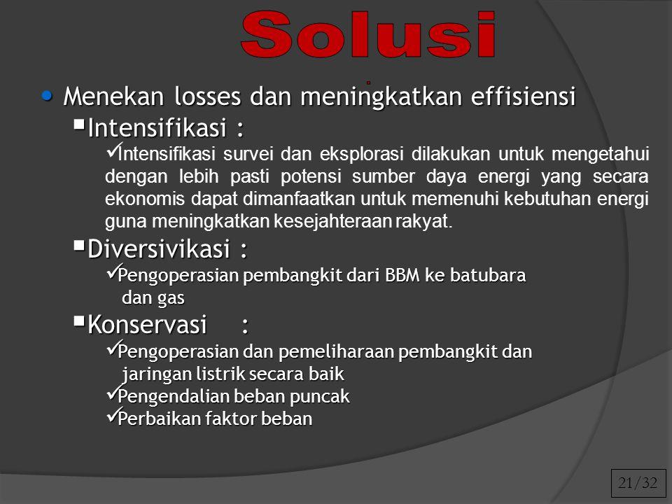 Menekan losses dan meningkatkan effisiensi Menekan losses dan meningkatkan effisiensi  Intensifikasi : Intensifikasi survei dan eksplorasi dilakukan