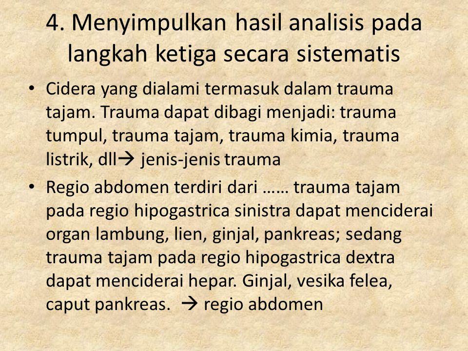 Cidera yang dialami termasuk dalam trauma tajam. Trauma dapat dibagi menjadi: trauma tumpul, trauma tajam, trauma kimia, trauma listrik, dll  jenis-j