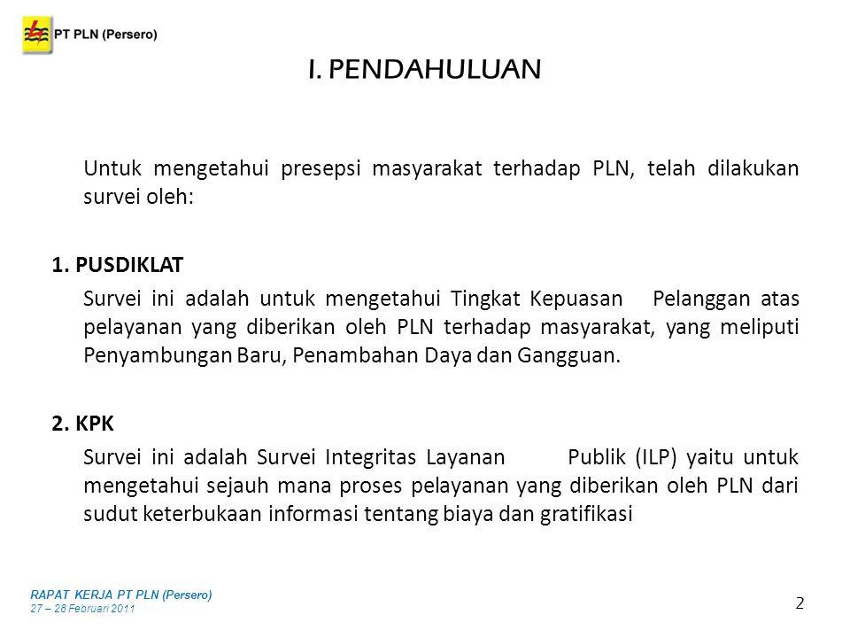 I. PENDAHULUAN 2 Untuk mengetahui presepsi masyarakat terhadap PLN, telah dilakukan survei oleh: 1. PUSDIKLAT Survei ini adalah untuk mengetahui Tingk