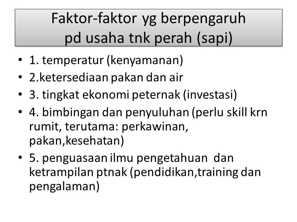 Faktor-faktor yg berpengaruh pd usaha tnk perah (sapi) 1. temperatur (kenyamanan) 2.ketersediaan pakan dan air 3. tingkat ekonomi peternak (investasi)