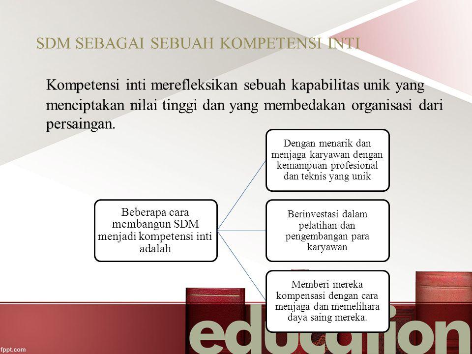 SDM SEBAGAI SEBUAH KOMPETENSI INTI Kompetensi inti merefleksikan sebuah kapabilitas unik yang menciptakan nilai tinggi dan yang membedakan organisasi