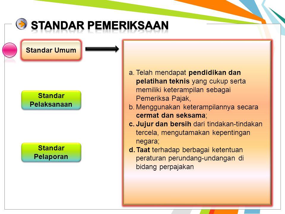 Standar Pemeriksaan Standar Pemeriksaan digunakan sebagai ukuran mutu Pemeriksaan yang diatur oleh Direktur Jenderal Pajak yang merupakan capaian mini
