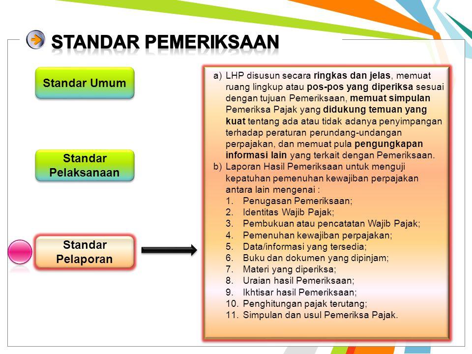 Standar Pelaksanaan Standar Pelaporan Standar Umum a)persiapan yang baik, sesuai dg tujuan Pemeriksaan b)Pemeriksaan dilaksanakan dengan melakukan pen