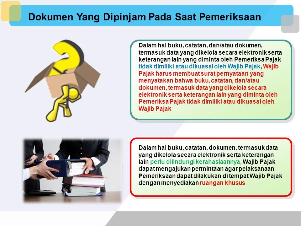 Peminjaman Dokumen WP tidak atau hanya menyerahkan sebagian dari buku, catatan, dan dokumen yang wajib dipinjamkan WP OP yg melakukan kegiatan usaha a
