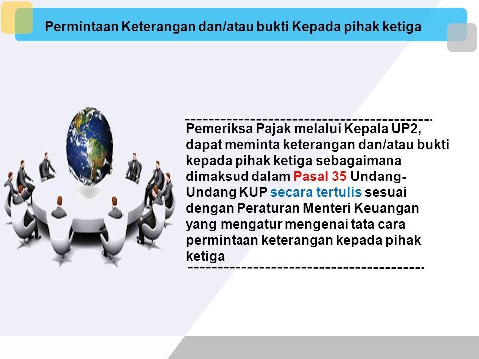 Untuk memperoleh penjelasan yang lebih rinci, Pemeriksa Pajak melalui Kepala UP2 dapat memanggil Wajib Pajak, wakil, kuasa dari Wajib Pajak, pegawai a