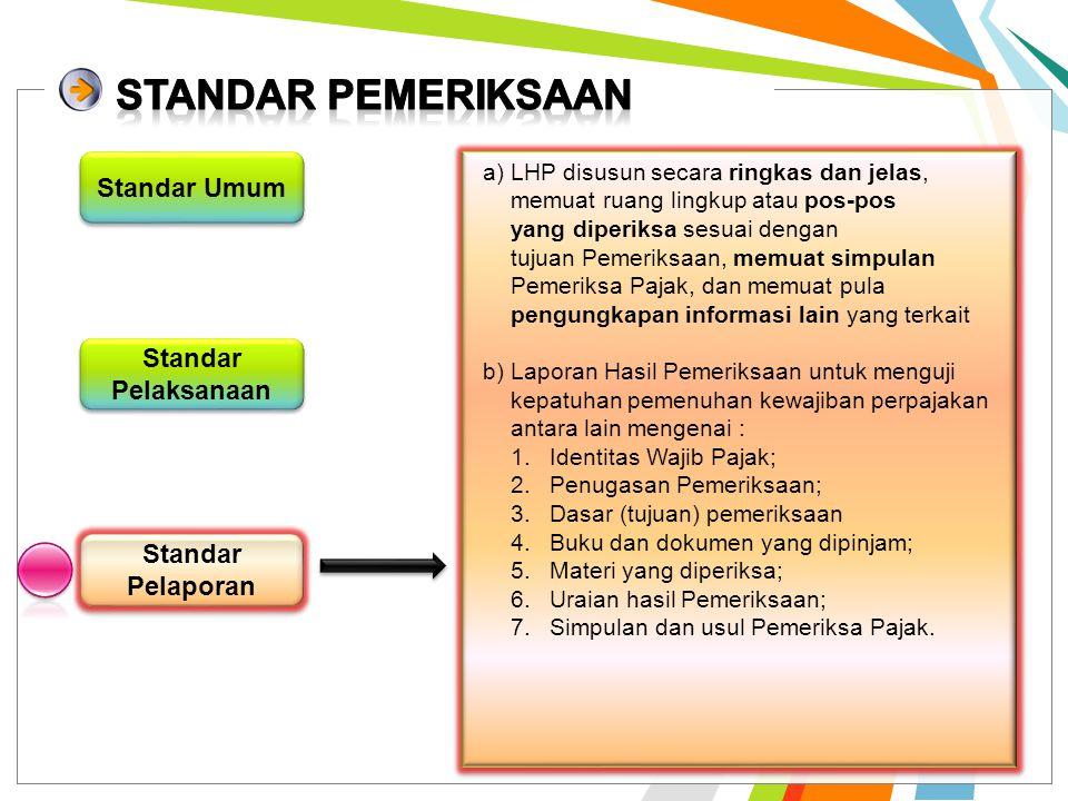 Standar Pelaksanaan Standar Pelaporan Standar Umum a)persiapan yang baik, sesuai dengan tujuan Pemeriksaan dan mendapat pengawasan yang seksama b)luas