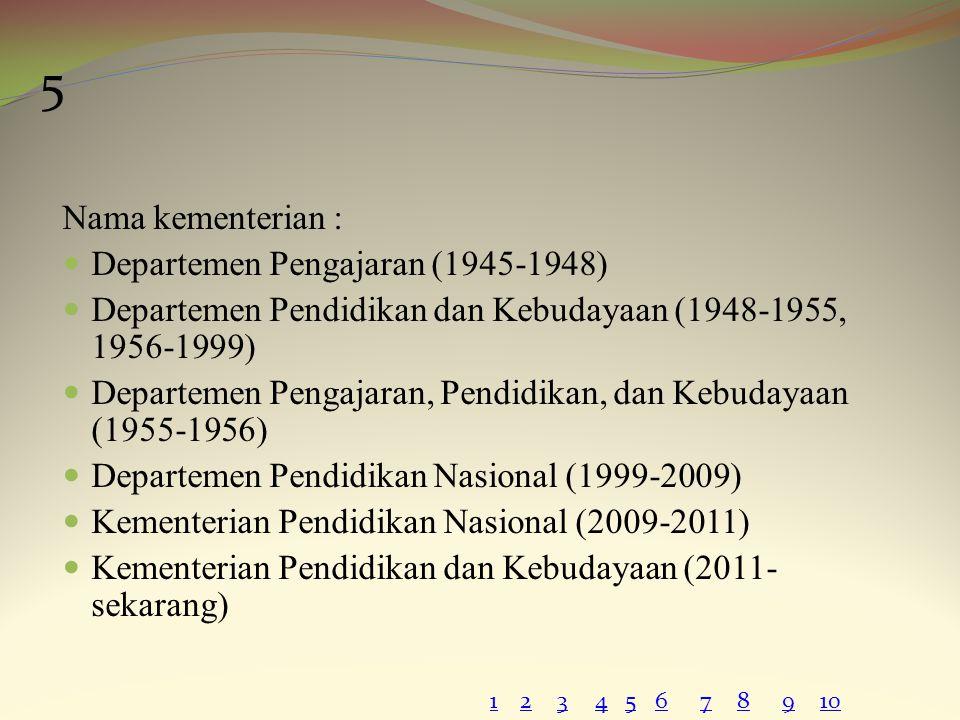 Nama kementerian : Departemen Pengajaran (1945-1948) Departemen Pendidikan dan Kebudayaan (1948-1955, 1956-1999) Departemen Pengajaran, Pendidikan, da