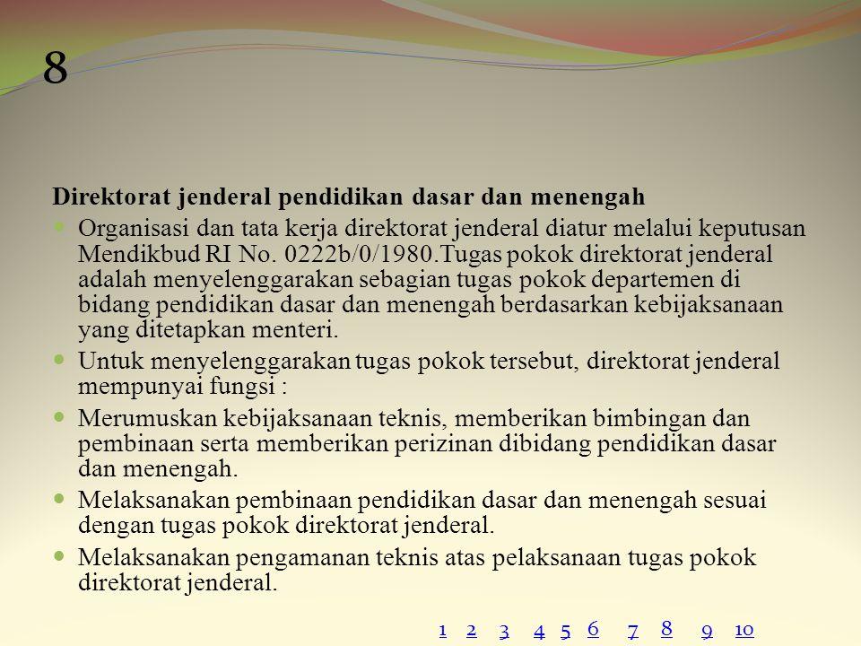 Direktorat jenderal pendidikan dasar dan menengah Organisasi dan tata kerja direktorat jenderal diatur melalui keputusan Mendikbud RI No. 0222b/0/1980