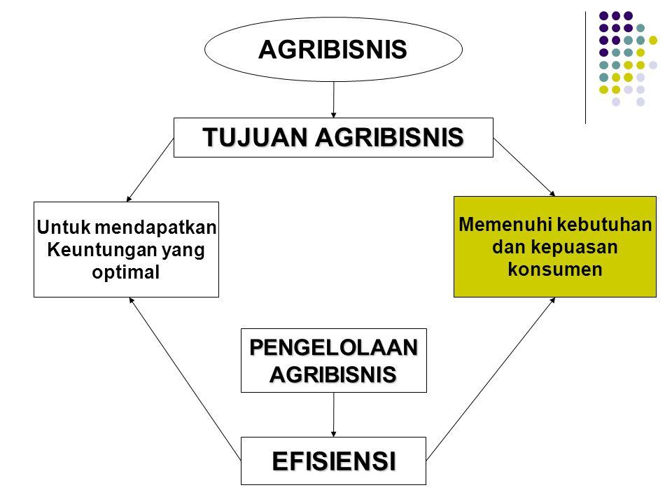 AGRIBISNIS TUJUAN AGRIBISNIS Memenuhi kebutuhan dan kepuasan konsumen Untuk mendapatkan Keuntungan yang optimal EFISIENSI PENGELOLAANAGRIBISNIS