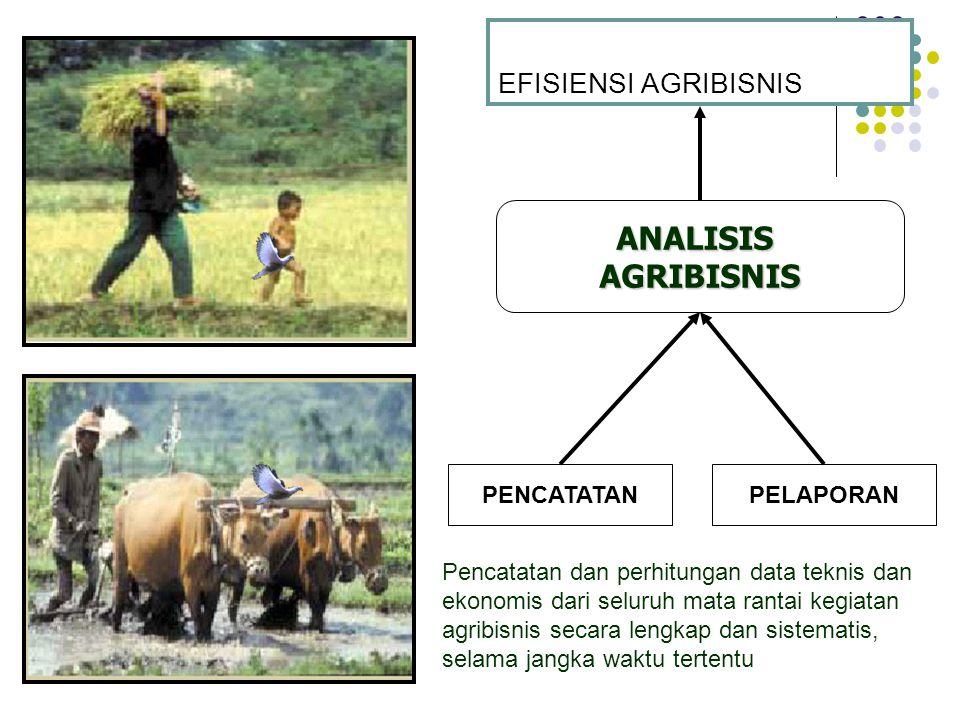 EFISIENSI AGRIBISNIS ANALISISAGRIBISNIS PENCATATAN Pencatatan dan perhitungan data teknis dan ekonomis dari seluruh mata rantai kegiatan agribisnis se