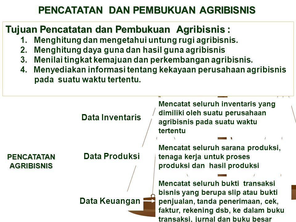 PENCATATAN DAN PEMBUKUAN AGRIBISNIS Tujuan Pencatatan dan Pembukuan Agribisnis : 1. Menghitung dan mengetahui untung rugi agribisnis. 2. Menghitung da