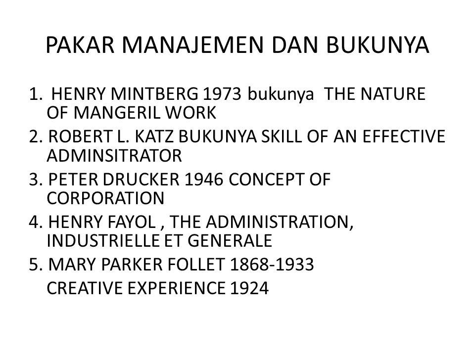 PAKAR MANAJEMEN DAN BUKUNYA 1. HENRY MINTBERG 1973 bukunya THE NATURE OF MANGERIL WORK 2. ROBERT L. KATZ BUKUNYA SKILL OF AN EFFECTIVE ADMINSITRATOR 3