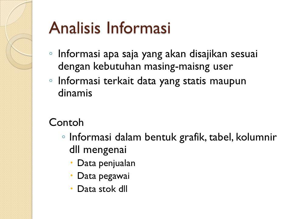 Analisis Data ◦ Data apa saja yang akan digunakan untuk membangun sistem/aplikasi yang dibuat berdasarkan permintaaan calon user, observasi dan studi