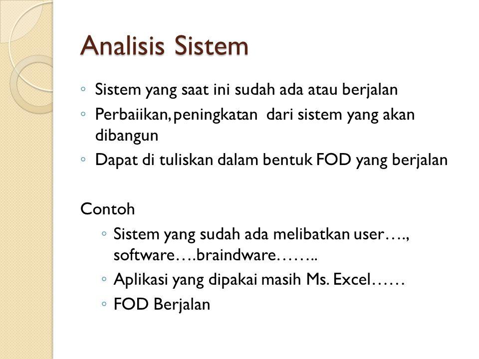 Analisis User ◦ User-user yang akan menggunakan atau terlibat diu dalam sistem/aplikasi yang dibangun ◦ Dapat dibedakan berdasarkan  Level pengguna 