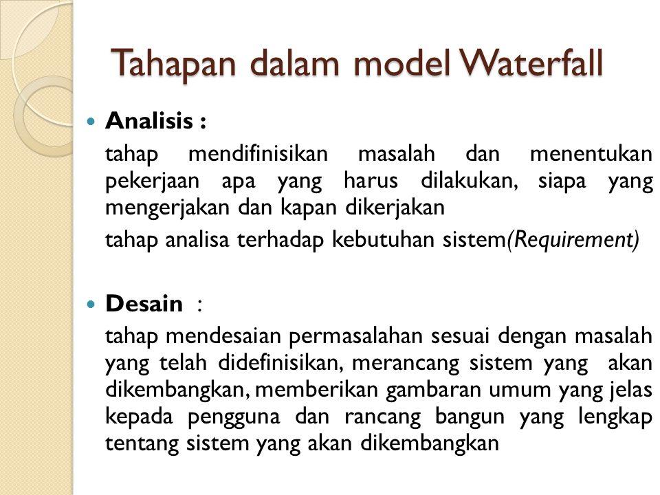 Waterfall Model satu arah yang dimulai dari tahap persiapan sampai perawatan. Pengembangan software dengan model ini akan melalui beberapa tahapan, ke