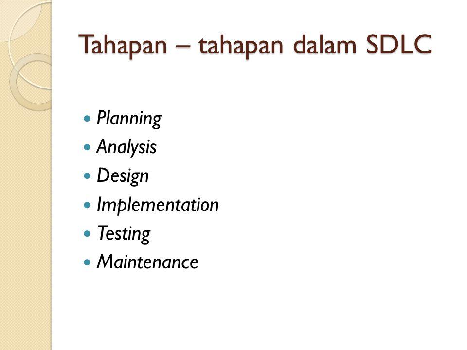 System Development Life Cycle SIKLUS HIDUP PENGEMBANGAN SISTEM (SDLC) SDLC adalah langkah-langkah dalam pengembangan sistem informasi/tahapan- tahapan